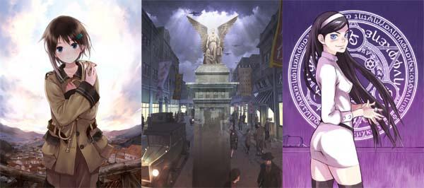 de gauche à droite : Sora no Woto, Senkô no Night Raid et Zaidan Hôjin Occult Designer Gakuin.